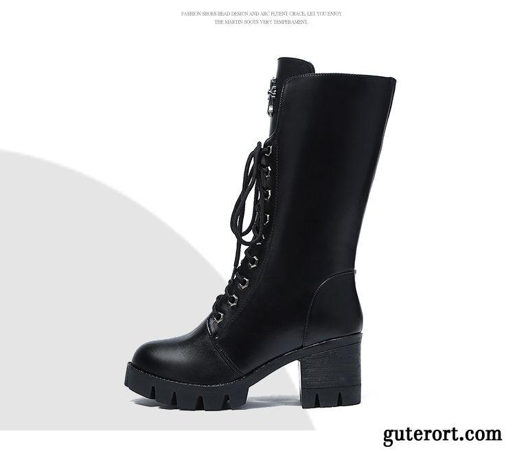 Luxus Super süße klassischer Chic Halbschaft Stiefel Damen, Stiefel Schwarz Absatz Kupfer