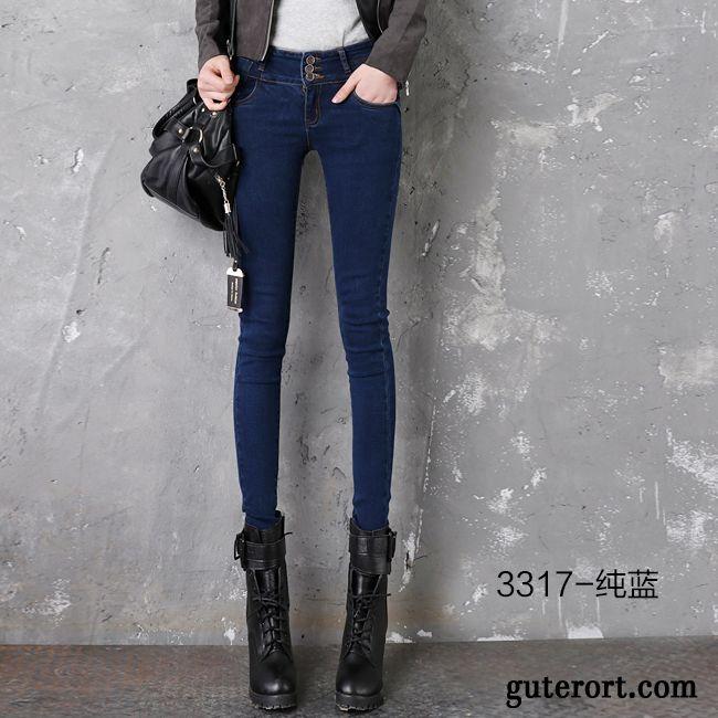 Blaue jeans mit lochern damen