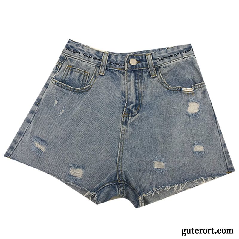 Kurze Hosen Damen Feder Gerade Hot Pants Retro Löcher Sommer Blau