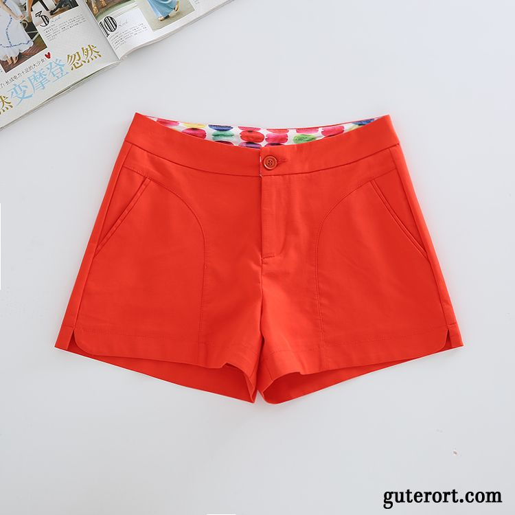 Kurze Hosen Damen Weites Bein Lose Dünn Sommer Neu Hot Pants Orange Weiß Rot