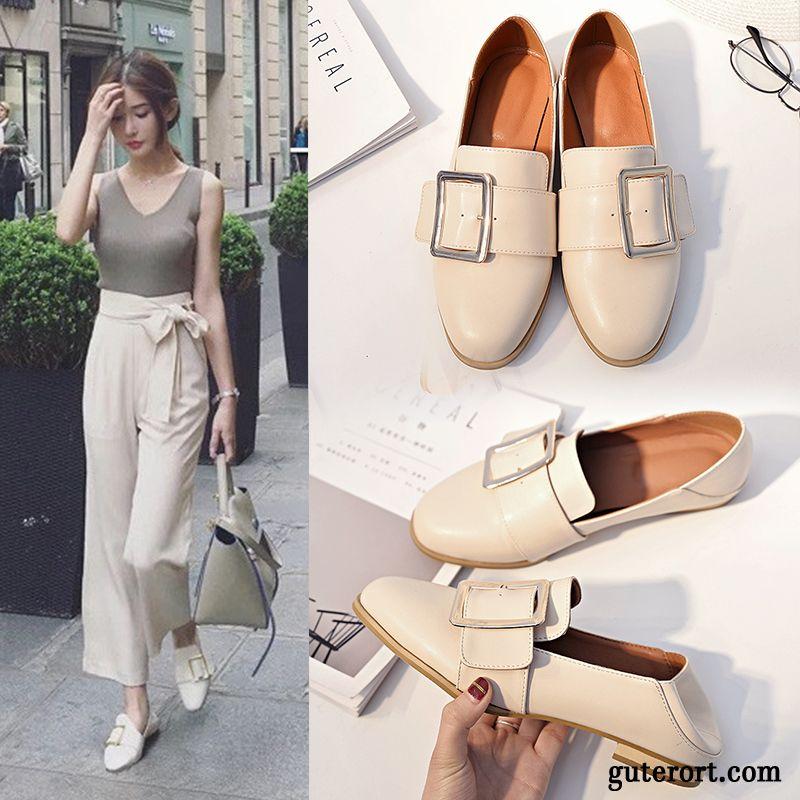 Blaue Leder Schuhe Damen Lederschuhe Persönlichkeit Trend