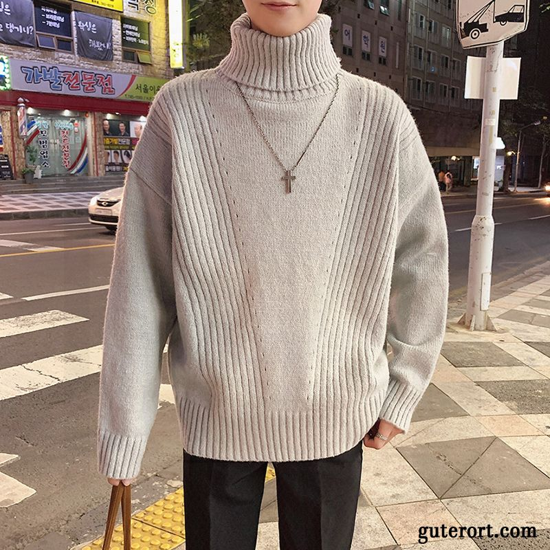Pullover Herren Verdickung Strickwaren Rein Winter Europa Lose Grau