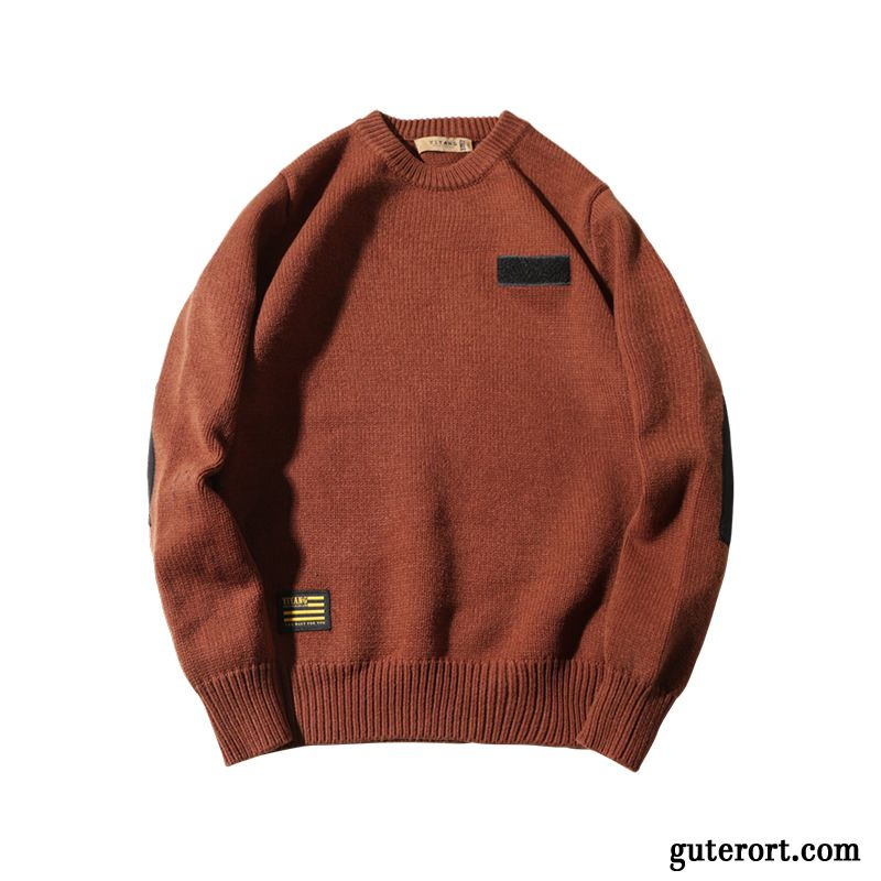 Pullover Herren Winter Pullovers Retro Rein Trend Patch Braun