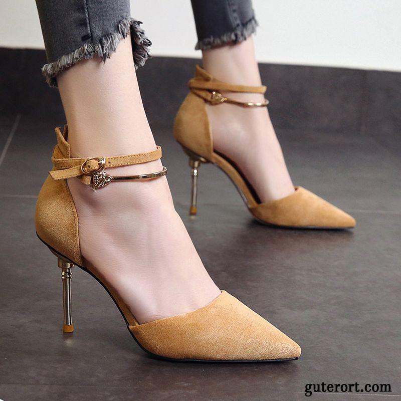 Elegant Schuhe Mit Kleinem Absatz Kaffeebraun, Spitze