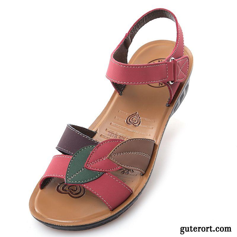 d80ca2a708 Sandalen Damen Elegant Flach Rosarot, Damenschuhe Sandaletten Sale