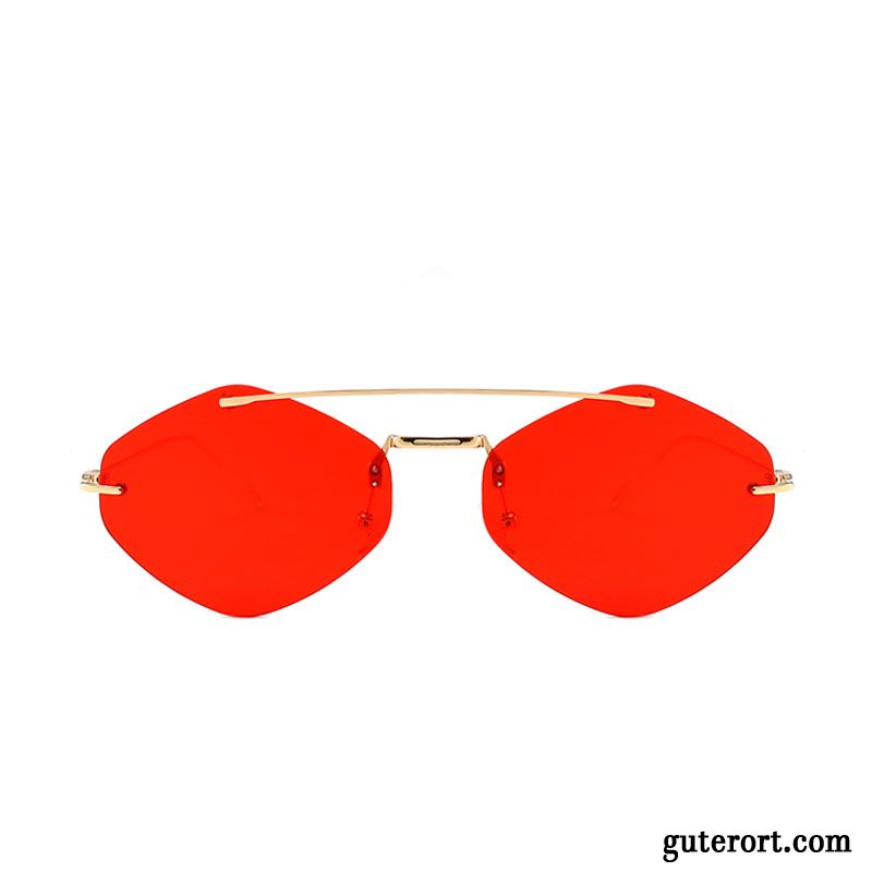 Sonnenbrille Damen Europe Mini Mesh Hip-hop Transparent Sonnenbrillen Gold Rot